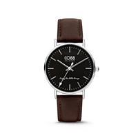CO88 Collection - Horloge staal/leder 36 mm zilverkleurig/zwart 8CW-10006