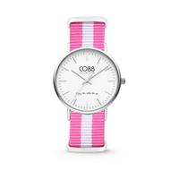 CO88 Collection - Horloge staal/nylon wit/roze 36 mm 8CW-10025