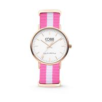CO88 Collection - Horloge staal/nylon rosé/wit/roze 36 mm 8CW-10026