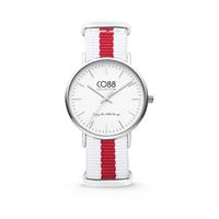 CO88 Collection Horloge staal/nylon rood/wit 36 mm 8CW-10027