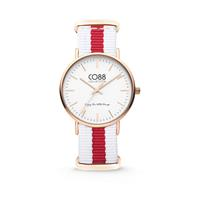 CO88 Collection - Horloge staal/nylon rosé/wit/rood 36 mm 8CW-10028