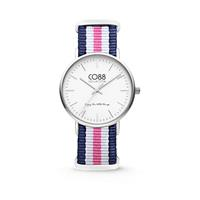 CO88 Collection - Horloge staal/nylon blauw/wit/roze 36 mm 8CW-10029
