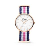 CO88 Collection Horloge staal/nylon rosé/blauw/wit/roze 36 mm 8CW-10030