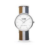 CO88 Collection Horloge staal/nylon zilverkleurig/bruin/wit/grijs 36 mm 8CW-10031
