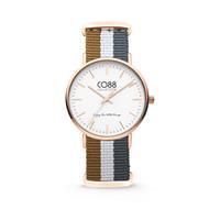 CO88 Collection - Horloge staal/nylon rosé/bruin/wit/grijs 36 mm 8CW-10032
