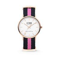 CO88 Collection - Horloge staal/nylon rosékleurig/zwart/roze 8CW-10033