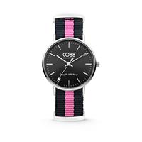 CO88 Collection Horloge staal/nylon zwart/roze 36 mm 8CW-10034