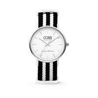 CO88 Collection - Horloge staal/nylon zilver/zwart/wit 36 mm 8CW-10035