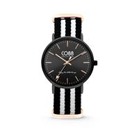 CO88 Collection Horloge staal/nylon zwart/wit 36 mm 8CW-10036
