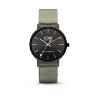 CO88 Collection Horloge staal/nylon zwart/groen 36 mm 8CW-10037