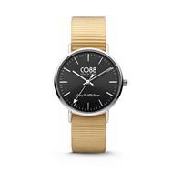 CO88 Collection - Horloge staal/nylon zilver/zwart/zandbruin 36 mm 8CW-10038