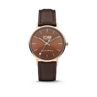 CO88 Collection - Horloge staal/leder 36 mm rosé/bruin 8CW-10010
