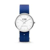 CO88 Collection - Horloge staal/nylon 36 mm zilver/donkerblauw 8CW-10016