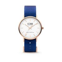 CO88 Collection - Horloge staal/nylon 36 mm rosé/donkerblauw 8CW-10017