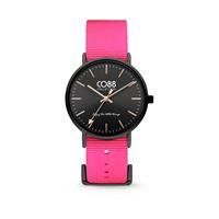 CO88 Collection - Horloge staal/nylon 36 mm zwart/roze 8CW-10020