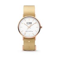 CO88 Collection Horloge staal/nylon 36 mm rosé/zand 8CW-10021
