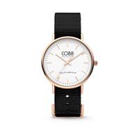 CO88 Collection - Horloge staal/nylon 36 mm rosé/zwart 8CW-10022