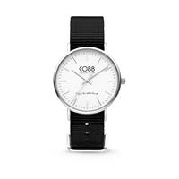 CO88 Collection - Horloge staal/nylon zwart/wit 36 mm 8CW-10023