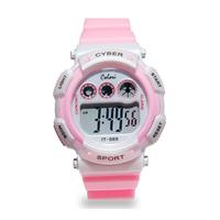 Colori Kinderhorloge Cyber Sport siliconen/digitaal roze-wit 36 mm 5-CLK089