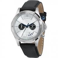 Maserati Circuito Men's Wristwatch Quartz Chronograph Ø 44 mm 10 ATM Pin Buckle Calfskin Bracelet Stainless Steel Case Black R8871627005