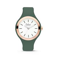 Colori Horloge Macaron staal/siliconen goudkleurig-groen 44 mm 5-COL504