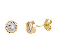 Gold Collection 14 Krt Gouden Solitaire Oorknoppen 5.0 mm zirkonia Kastzetting 206.2021.05