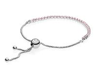 Pandora 590524PCZ-1 Armband zilverGlinsterende Stenen' roze 23 cm