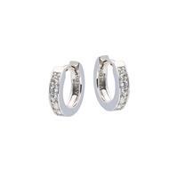 Best Basics Zilveren klapcreolen - zirkonia - 3 x 12 mm - vierkante buis - gerodineerd 107.0486.10