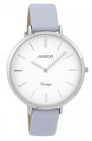 OOZOO Horloge Vintage staal/leder zilverkleurig-lila C9386