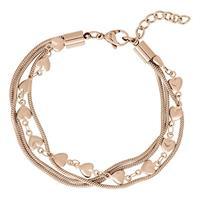 IXXXI Enkelband Snake and Heart staal rosékleurig 23-27 cm B0030323002
