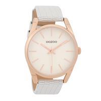 Oozoo C9572 Horloge Timepieces Collection zilver- rosekleurig-wit