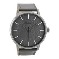 OOZOO Horloge Timepieces Collection staal/leder zilverkleurig-grijs C9440