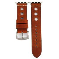 Voor Apple Watch Series 3 & 2 & 1 38mm Retro Hole echt lederen Wrist Watch Band(Reddish Bruin)