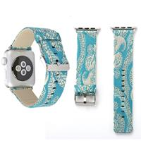 Voor Apple Watch Series 3 & 2 & 1 42mm Retro Silk Canvas + echt lederen Wrist Watch Band(Azure)
