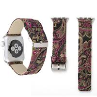 Voor Apple Watch Series 3 & 2 & 1 42mm Retro Silk Canvas + echt lederen Wrist Watch Band (Zwart + Paars)