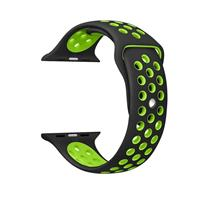 For Apple Watch Series 1 & Series 2 & Nike+ Sport 42mm Fashionable Classical Silicone Sport Watchband(Black + Green)