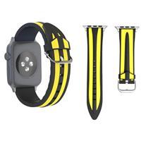 Voor Apple Watch Series 3 & 2 & 1 38mm Fashion Double streeps patroon siliconen Watch Strap (Zwart+geel)