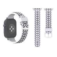 Voor Apple Watch Series 3 & 2 & 1 38mm Fashion Fishbone patroon siliconen Watch Strapwit