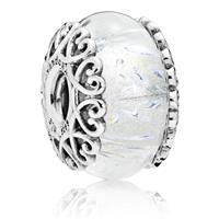 Pandora Bedel zilver Irisdescent White Glass 797617