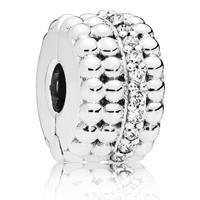 Pandora 797520CZ Clip-Stopper Bedel zilver Beaded