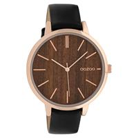 OOZOO C9749 Horloge staal/leder Black Dark Oak 42 mm