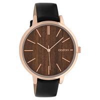 OOZOO C9749 Horloge staal/leder Black Dark Oak 42 mm
