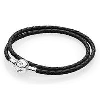 Pandora 590745CBK Armband zilver/leder Zwart (D2) 38 cm