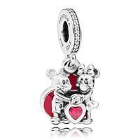 Pandora 797769CZR Hangbedel Disney zilver Mickey and Minnie with Love
