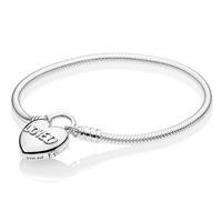 Pandora 597806CZ Armband zilver Snake Heart Padlock 17 cm