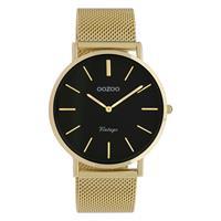 OOZOO C9913 Horloge staal/mesh goudkleurig-zwart 40 mm