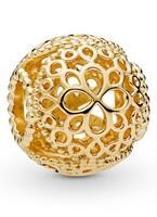 Pandora Openwork Flower bedel met gouden plating