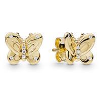 Pandora Shine 267921CZ Oorbellen zilver Decorative Butterflies goudkleurig