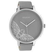 Oozoo C10078 Horloge Timepieces Collection staal/leder zilverkleurig-grijs 48 mm