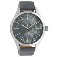 OOZOO C10074 Horloge Timepieces Collection staal/leder zilverkleurig-bluegrey 45 mm